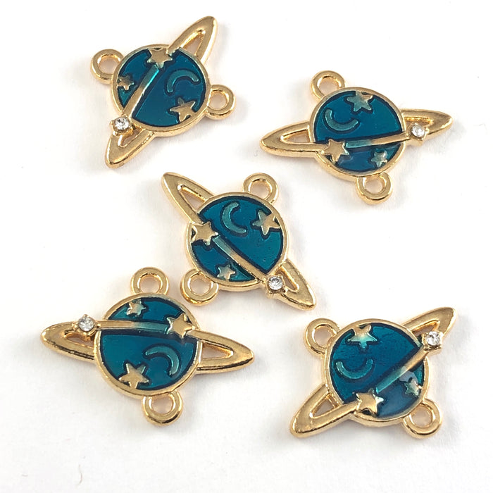 blue and gold jewerly charms that look like planets
