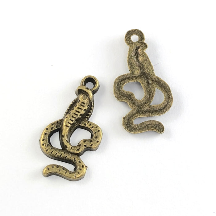 front and back of bronze jewerly charms that look like cobra snakes