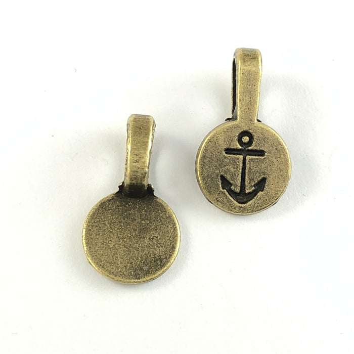 bronze glue on bails with anchor symbol