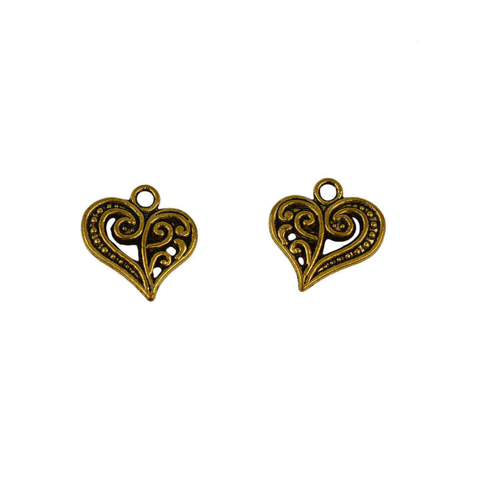 14mm antique gold colored scroll heart charms