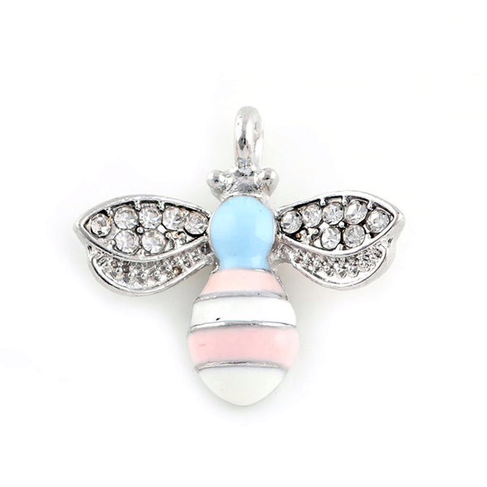 silver blue pink and white jewelry charms that look like bees