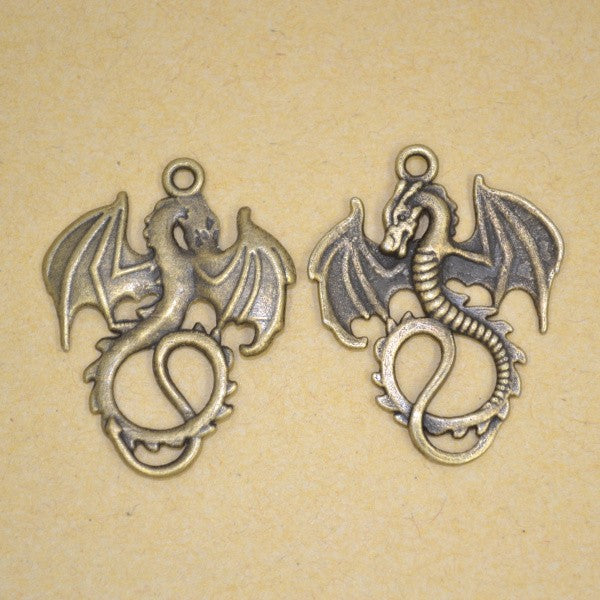 Bronze Plated Dragon Pendant Charms, 35mm - 4 Pack