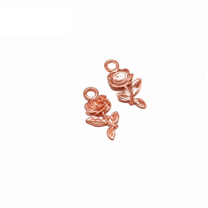 Rose Gold Tone Rose Charms, 21mm - 10 Pack