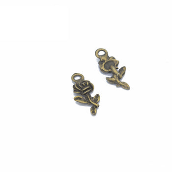 small rose jewelry charms with bronze color