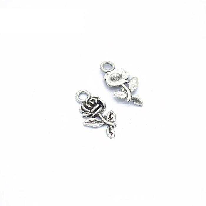 small rose charms with antique silver finish