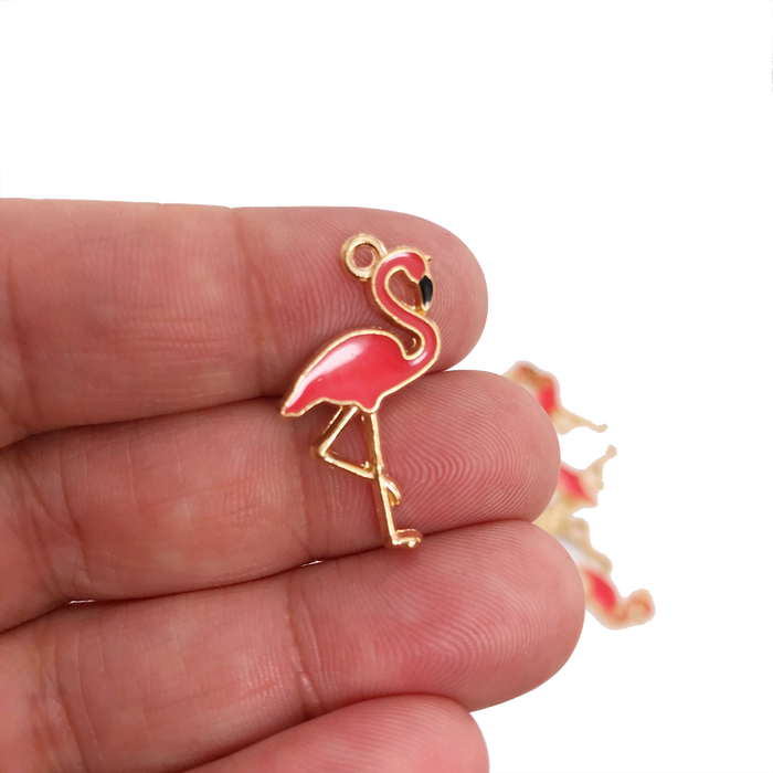 Flamingo Pendant Charms Gold and Pink Colour, 26mm - 4 Pack
