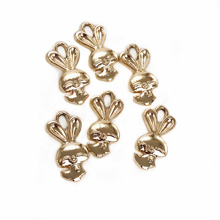 Gold Tone Bunny Pendant Charms, 22mm - 6 Pack