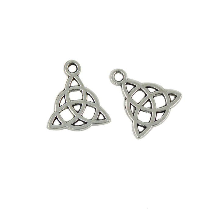 silver Celtic knot shaped jewelry charms