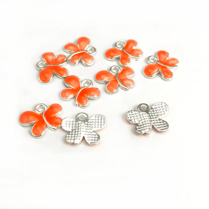 Orange Butterfly Charms, 13mm - 8 pack