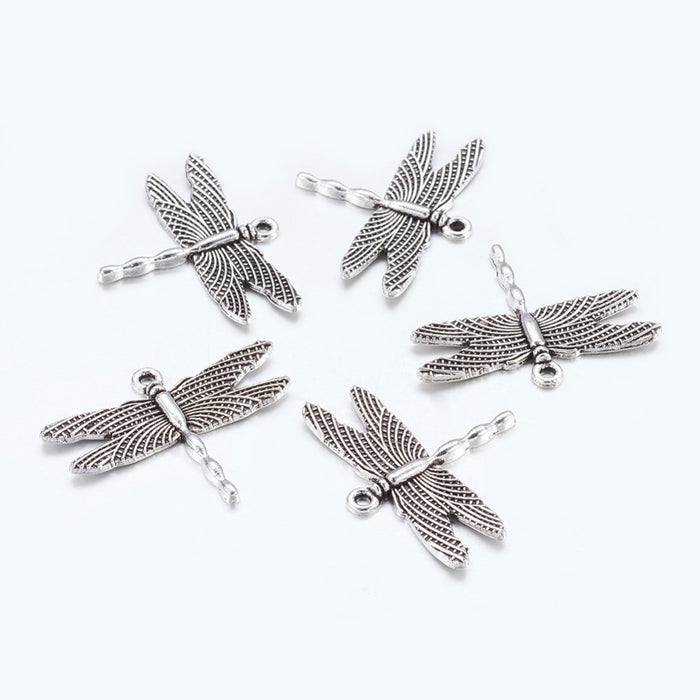 silver dragonfly shaped charms