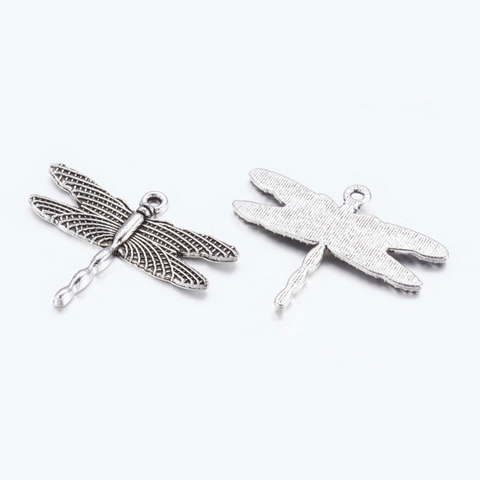 Dragonfly Antique Silver Pendant Charms, 35mm - 8 pack