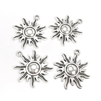 Sun pendants with antique silver finish
