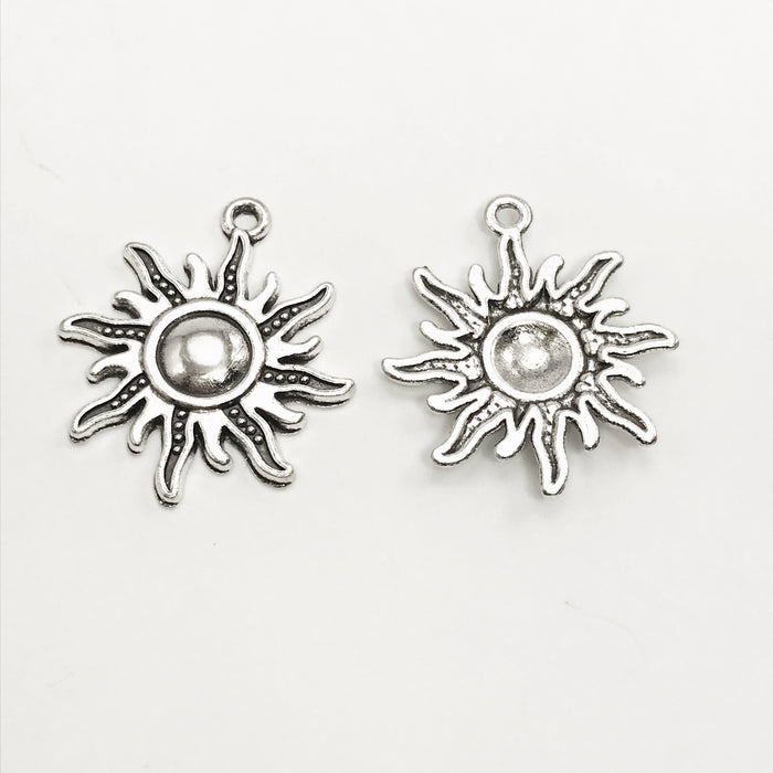 Antique Silver Colour Sun Pendant Charms - 4 Pack