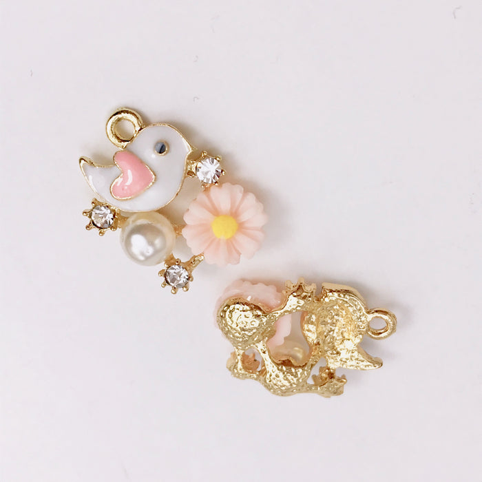 Enamel Bird and Flower Pendant Charms, 20mm - 2 pack