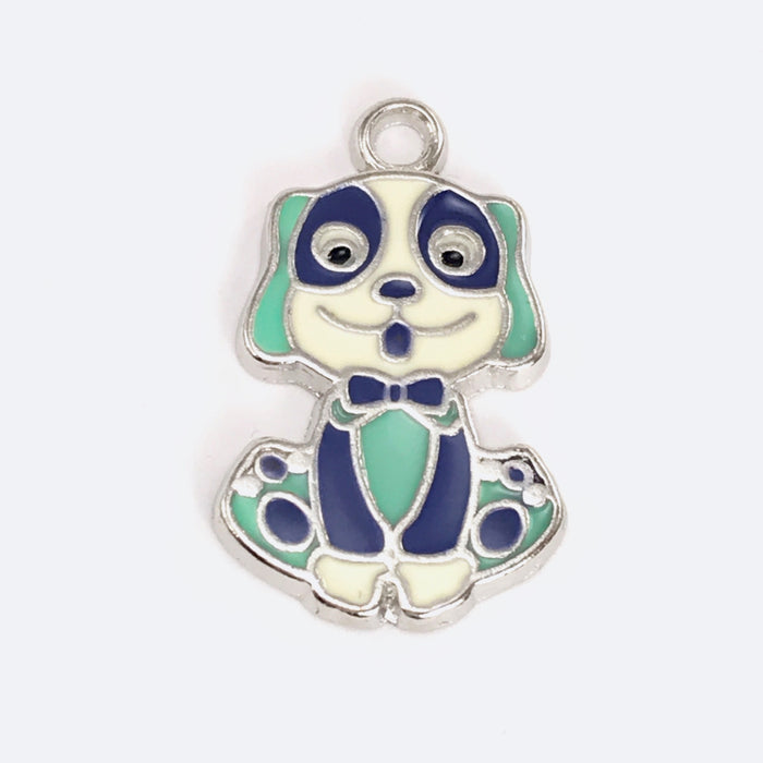 jewelry charm that looks like a dog colored white, blue and silver