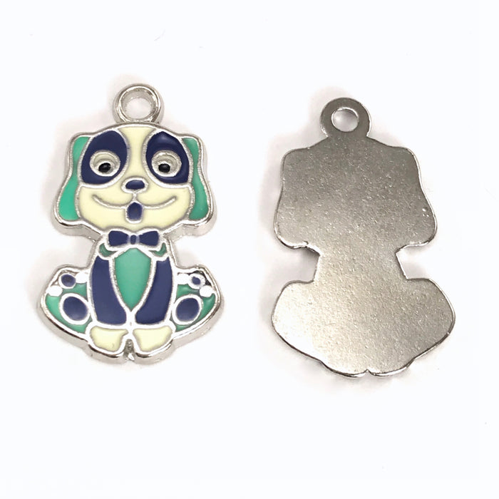 Enamel Alloy Dog Pendant Charms, 27mm - 4 pack