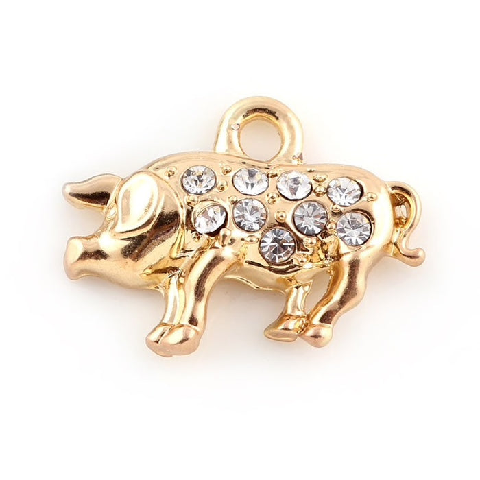 Gold Colour Pig Pendant Charms with Rhinestone Detail, 21mm - 2 pack