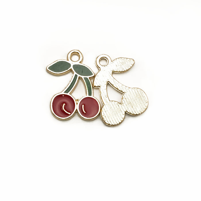 Cherry Enamel Pendant Charms, 18mm - 5 Pack