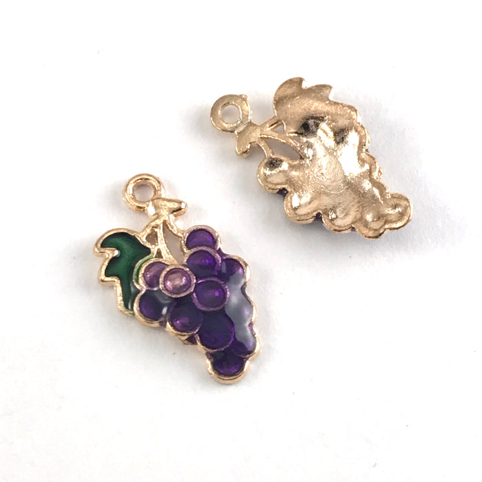 front and back of purple green and gold jewerly charms that look like a bunch of grapes