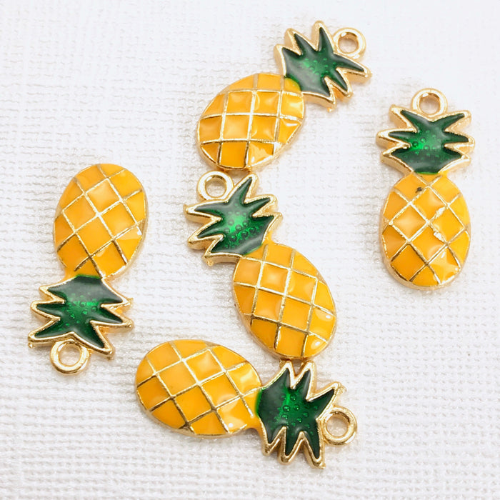 Pineapple Enamel Pendant Charms, 23mm - 5 Pack