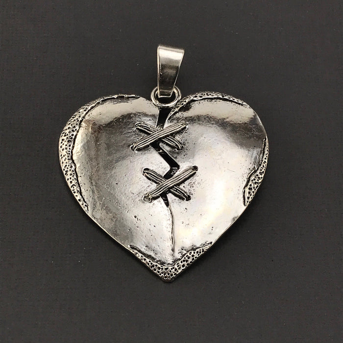 Large silver heart shaped pendant