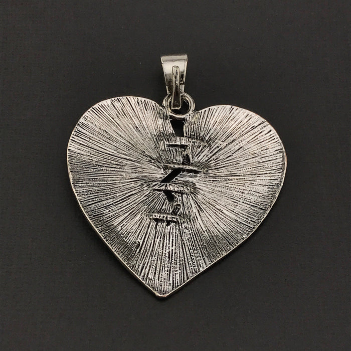 Extra Large Antique Silver Heart Pendant, 58mm