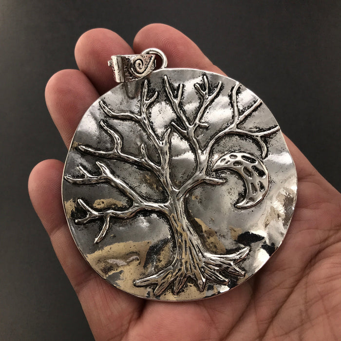 Extra Large Antique Silver Tree Of Life Pendant, 64mm