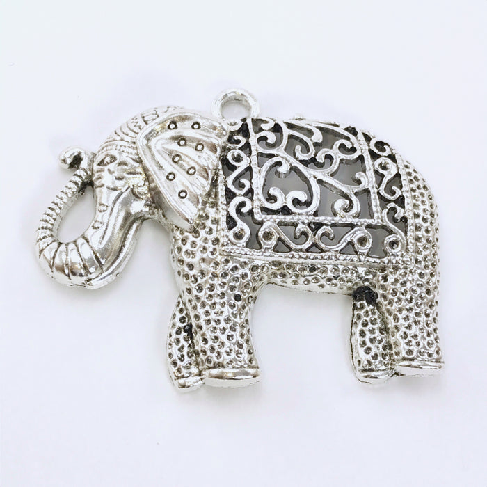 Extra Large Antique Silver Elephant Pendant, 60mm
