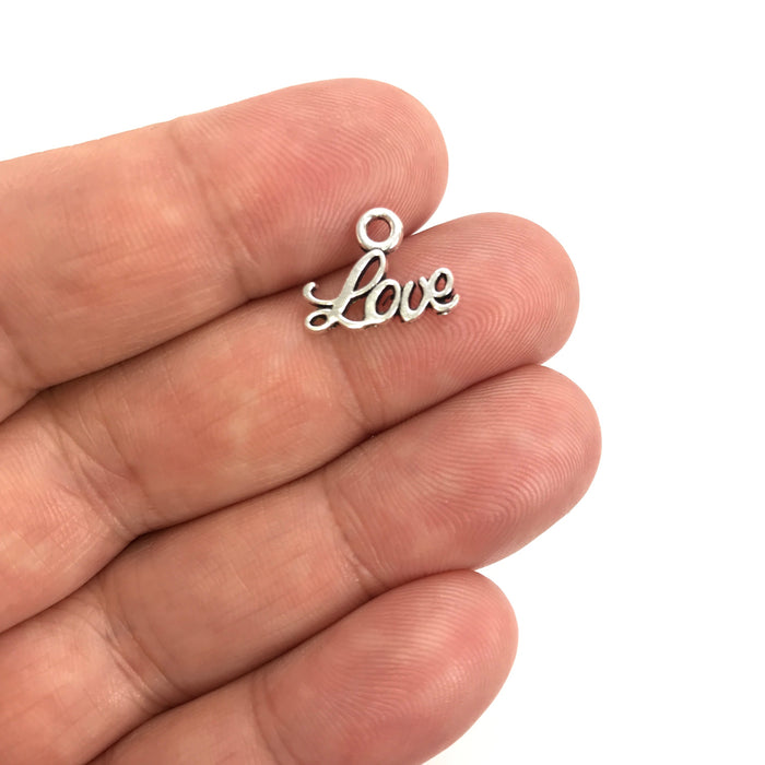 Love Pendant Charms Silver Tone, 13mm - 10 pack