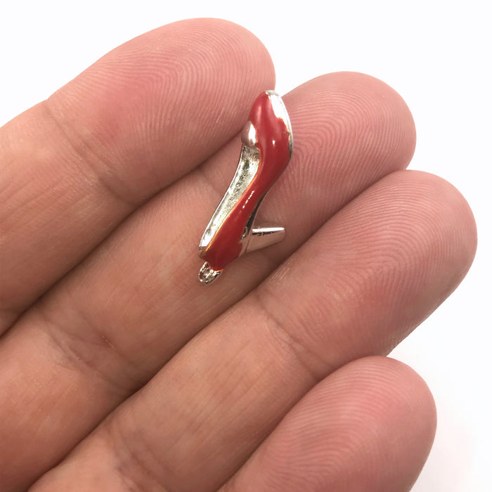 Red High Heel Shoe Enamel Pendant Charms, 22mm - 5 pack