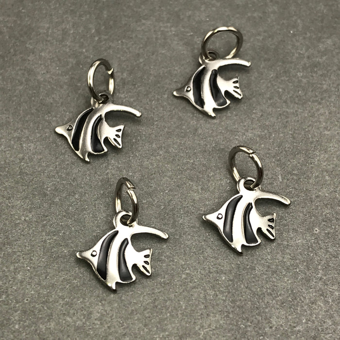 4 stainless steel fish shaped jewelry charms