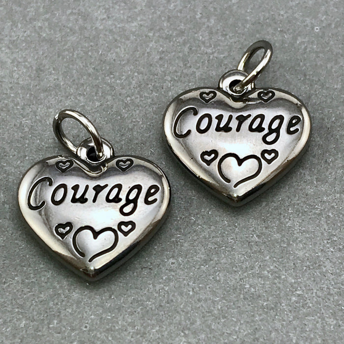 Stainless Steel Heart Shaped Courage Charms, 2 sided, 16mm - 2 Pack