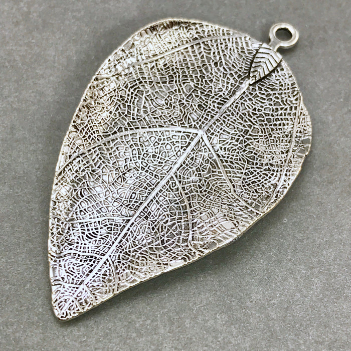 large leaf shaped silver pendant for jewelry making