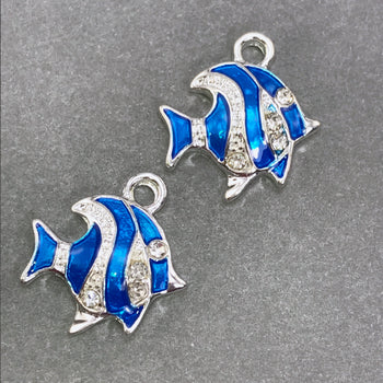 two blue and silver enamel fish shaped jewelry charms
