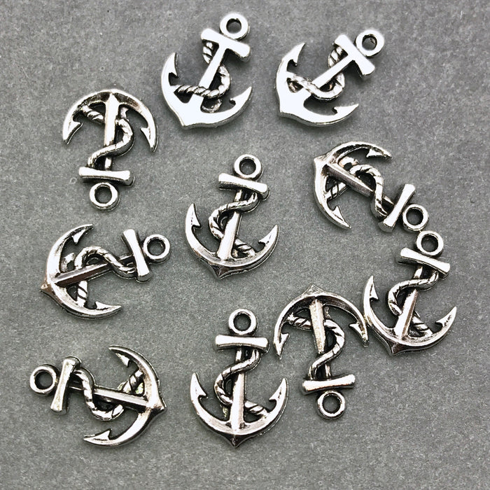ten antique silver anchor shaped jewelry charms