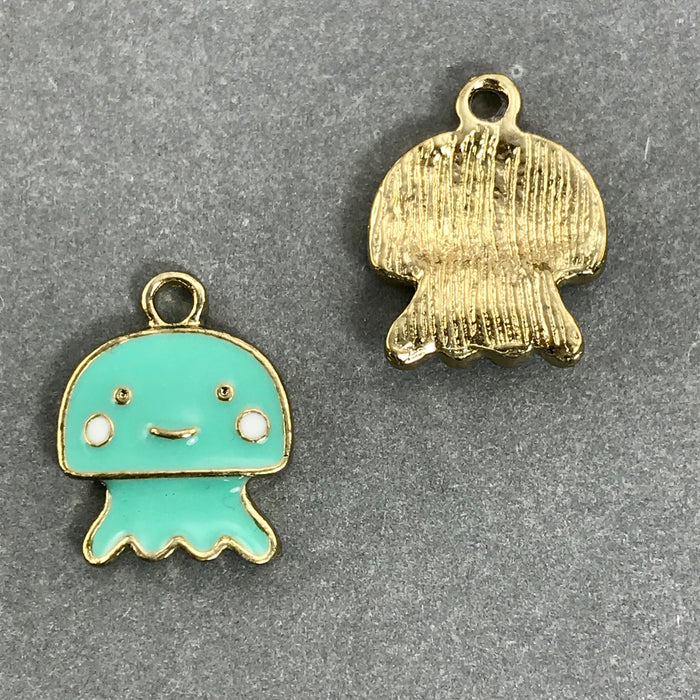 Enamel Jellyfish Pendant Charms, 15mm - 2 pack