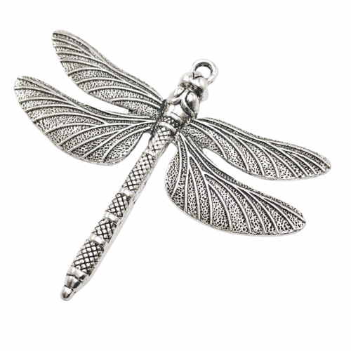 large silver color jewelry pendant shaped like a dragonfly