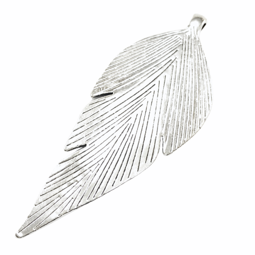 back view of a large silver jewelry pendant shaped like a leaf
