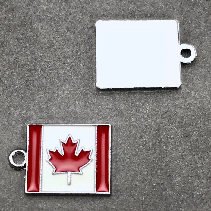 Enamel Canadian Flag Pendant Charms, 22mm - 2 pack