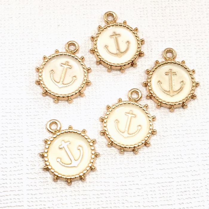 5 gold and beige anchor design jewelry charms
