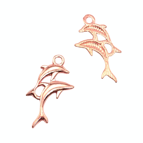 front and back of rose gold dolphin shaped jewelry charms