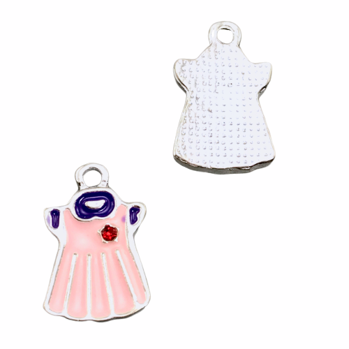 front and back of pink dress shaped jewelry charm