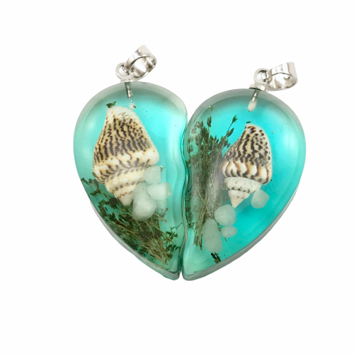 Blue green resin broken heart pendants with shell and embellishments