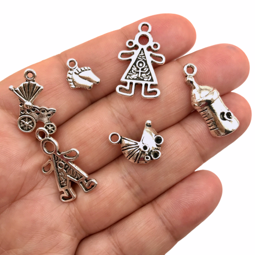 Baby Theme Jewelry Pendant Charms Set - 6 pack