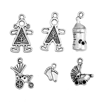 6 jewelry charms that are baby themed shapes