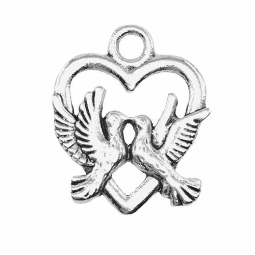 jewelry charm of love birds in a heart