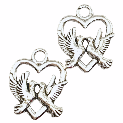Love Birds Jewelry Pendant Charms, 19mm - 10 pack