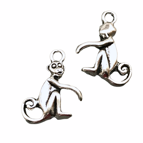 Monkey Pendant Charms For Jewelry Making, 16mm - 10 pack
