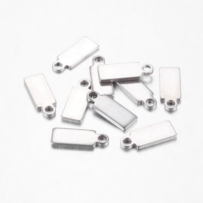 10 silver color rectagle jewelry charms
