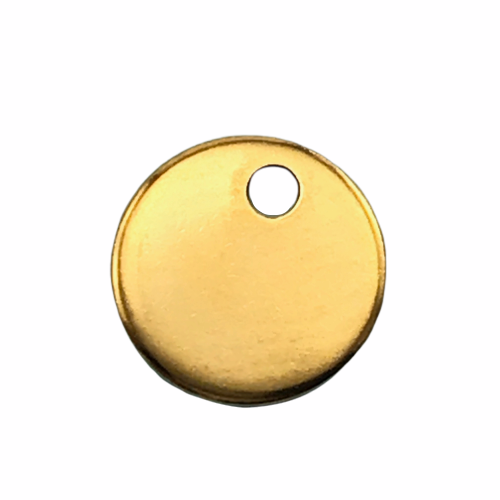 round gold color jewelry stamping tag with drilled hole